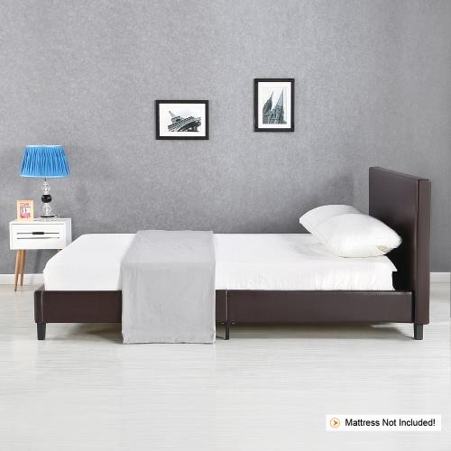 Buy iKayaa Modern Twin Sized Upholstered Linen Platform Bed Frames Wood Slats Wingback Frame Sponge Padded Brown 200KG Capacity 99*190cm Mattress