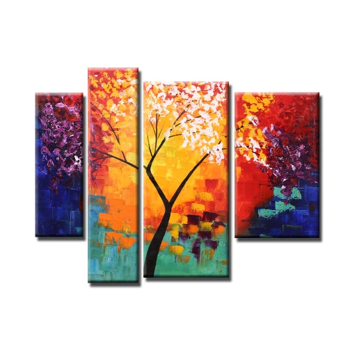 Buy Unframed Hand Painted Modern Abstract Oil Painting Set Life Tree Canvas Paint Wall Decor Art Living Room Decoration