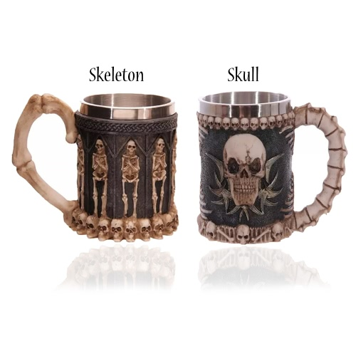 Hot Unique Creative Novelty Resin Stainless Steel Liner Creepy 3D Pattern Beer Mug Coffee Milk Cup Tankard Drinkware for Halloween Decoration Gift Personalized