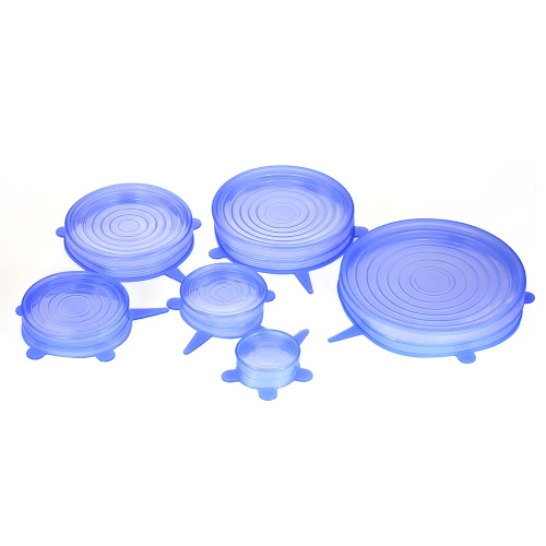 6pcs/set Universal Kitchen Silicone Stretch Suction Bowl Lids Pot Cup Bottle Food Cover