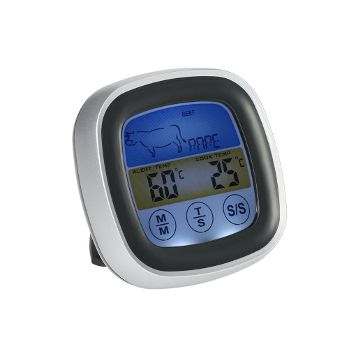 Buy Digital Colorful LCD BBQ Thermometer Long Probe Touchscreen Meat Cooking Timer Grill Steak Beef Lamb Pork Veal Chicken Turkey