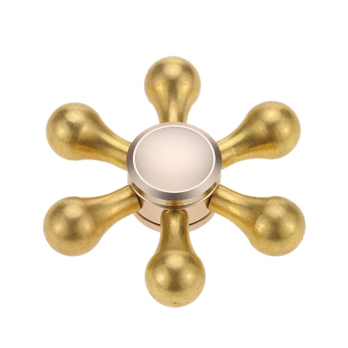 Buy 6 Arms Clubs Removable DIY Fidget Hand Finger Tri Stress Reducer Metal Spinner Widget Focus Desk Toy Fidgeters Anxiety Autism ADHD Children Adults Gift Gold Color Super Quiet Smooth Fast Spin Snowflake Design