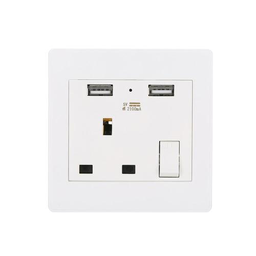Buy Wall Socket Dual 2 USB Plug Switch Power Supply Plate Universal 2100mA UK Charger