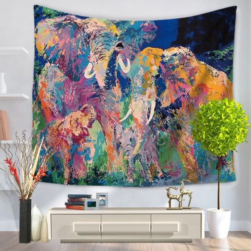 Buy 130*150cm Colored Drawing Elephants Mandala Home Polyester Wall Hanging Tapestry Decor Art Colorful Painting Bedspread Beach Towel Picnic Blanket Table Cloth Carpet
