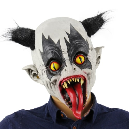 Buy Latex Full Head Creepy Bat Clown Mask Toothy Scary Ghost Masks Black Hair Halloween Masquerade Costume