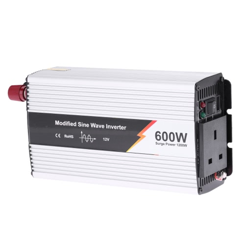 600W(1200W Peak) Modified Sine Wave Power Inverter Household Car Power Converter Charger Adapter DC 12V to AC 220V UK Plug от Tomtop.com INT
