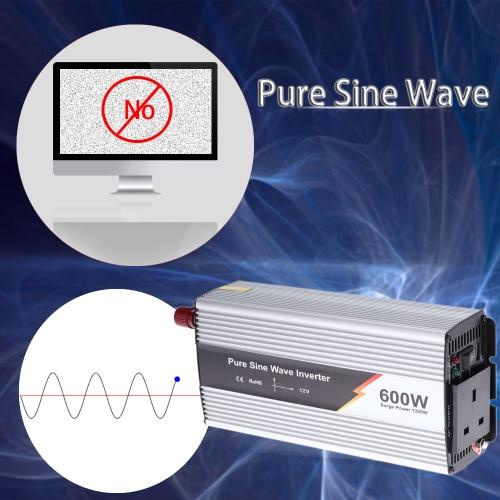 600W(1200W Peak) Pure Sine Wave Power Inverter Household Car Power Converter Charger Adapter DC 12V AC 220V UK Plug