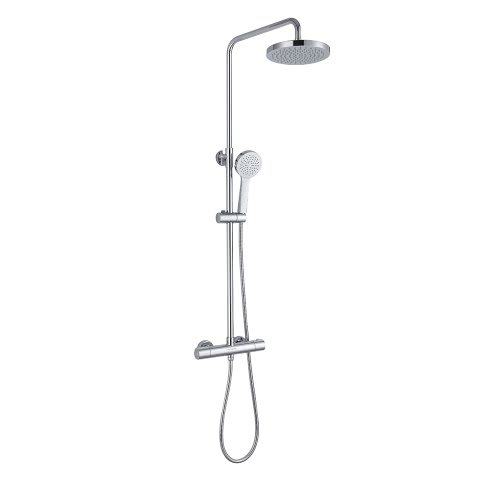 Homgeek High-quality Stainless Steel Hand-Held Constant Temperature Thermostatic Shower Panel Mixer Head Set Wall-mounted Water-saving Home Bathroom Rainfall Sprayer Chrome Finish Adjustable Height
