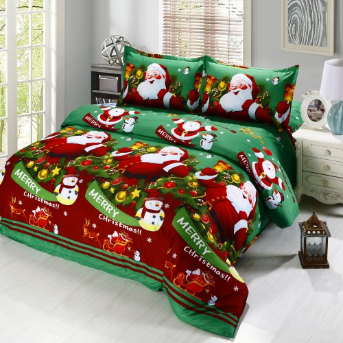 Buy Cotton Material 3D Printed Cartoon Merry Christmas Gift Santa Claus Bedding Set Bedclothes Duvet Quilt Cover Bed Sheet 2 Pillowcases