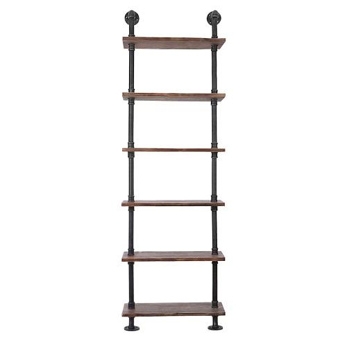 Buy iKayaa 6 Tier Rustic Industrial Ladder Wall Shelves W/ Wood Planks DIY Iron Pipe Standing Book Shelf Utility Storage Rack
