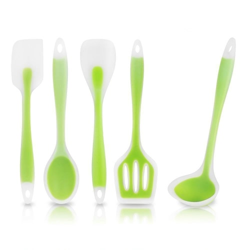 5pcs Cooking Utensil Set Kitchen Good Helper with Premium Non-Stick Silicone for Superior Durability Green Heat-Resistant Ladle Spoonula Mixing Spoon Spatula Turner