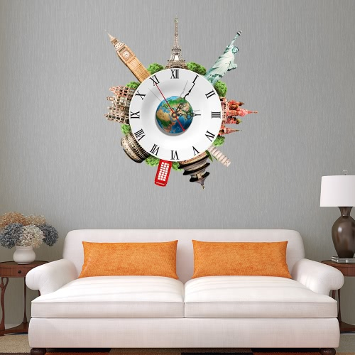 Buy 17.7 * 15.7'' DIY Removable 3D Wall Clock Sticker Quartz Movement Decortive Stickers Living Room Bedroom Decal Decor