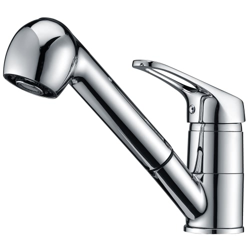 Buy Homgeek Modern Deck Mount Brass Chrome Finish Kitchen Sink Faucet Mixer Tap Home Hotel Single Lever Pull-out Sprayer