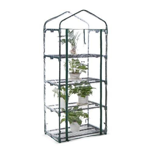 Buy iKayaa Outdoor Garden 4 Tier Mini Green House Growbag W/ Shelves Metal Frame & PVC Cover 69*49*160cmuff08L*W*Huff09