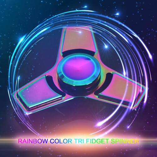 Tri Fidget Triangle Spinners Hand Finger Spin Toy Metal Aluminium Alloy 608 Bearing Rainbow Color Focus Desk Toy Anti Stress Gifts Widget Pocket ADHD Children Adults Compact Super Cool Colorful