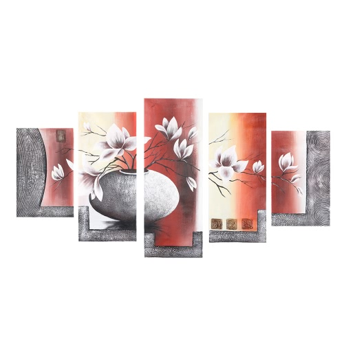 "5-Panel 36""*60"" Hand Painted Oil Painting Flower & Pot Unframed Canvas Wall Picture Wall Decoration Paintings Beautiful Room Decoration 90*150cm Painting Home Decoration Housewarming Gift от Tomtop.com INT"
