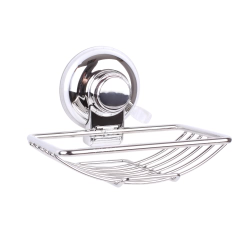 Rust-resistant Stainless Steel Wall-mounted Soap Dish Holder Saver Basket with Strong Vacuum Suction Cup for Bathroom Toilet Shower