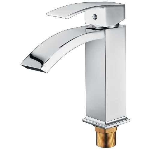 Buy Homgeek Elegant Modern Style Single Handle Solid Brass Waterfall Bathroom Sink Faucet Square Spout Basin Mixer Tap Chrome Home Hotel