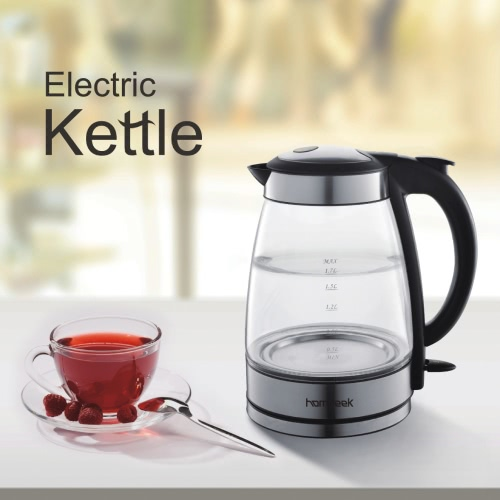 Homgeek High-end 1,7 Cordless bollitore elettrico in vetro Vetro bollitore cordless Jug Kettle con LED illuminato