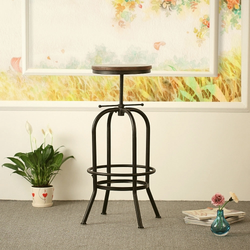 Buy iKayaa Industrial Style Height Adjustable Swivel Bar Stool Natural Pinewood Top Kitchen Dining Breakfast Chair