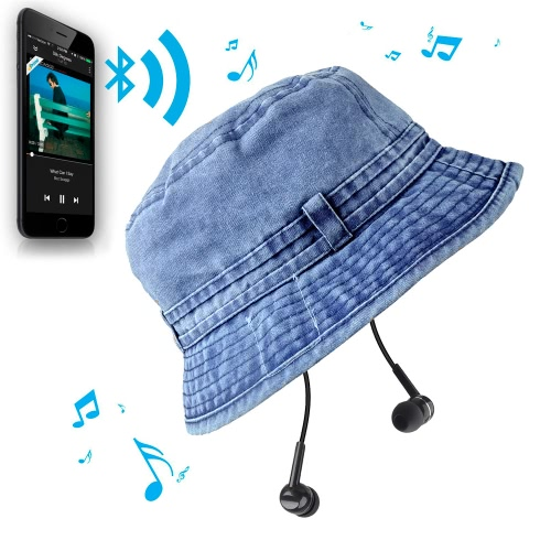 Buy Fashion Summer Bluetooth Music Hat Wireless Hands-Free Smart Cap Headphone Headset Speaker Mic CVC Washed Canvas Sun Hats Man