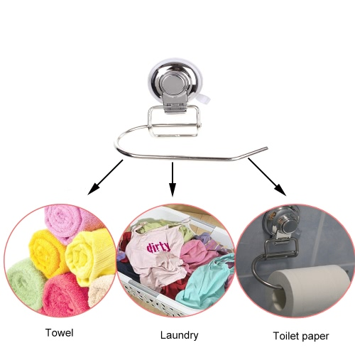 High Quality Wall-mounted Stainless Steel Toilet Paper Holder Tissue Roll Hanger Bathroom Accessory with Suction Cup for Bathroom Toilet Storage Kitchen Hotel