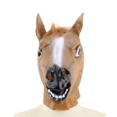 Buy Vinyl Realistic Horse Head Mask Full Novelty Animal Masks Halloween Cosplay Costume School Show