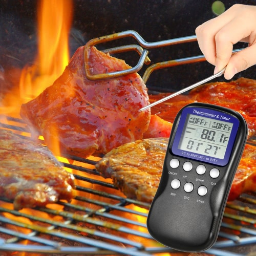 Buy LCD Food Cooking Thermometer Timer Digital Probe Barbecue Kitchen BBQ Meat Poultry Temperature Gauge