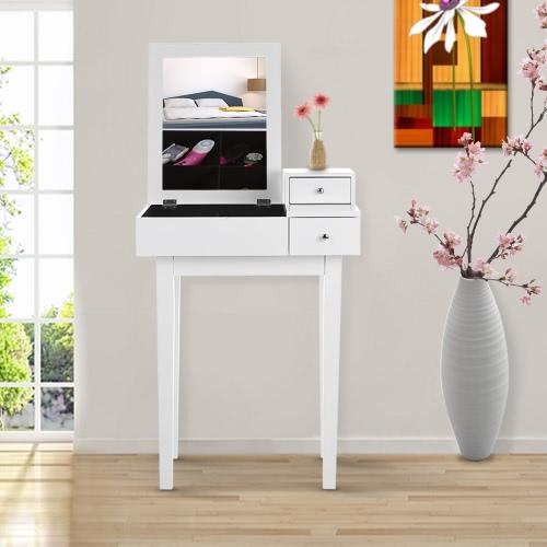 Buy IKAYAA Contemporary Bedroom Vanity Table Make Dressing W/ Mirror & Drawer Jewelry Armoires Storage Furniture