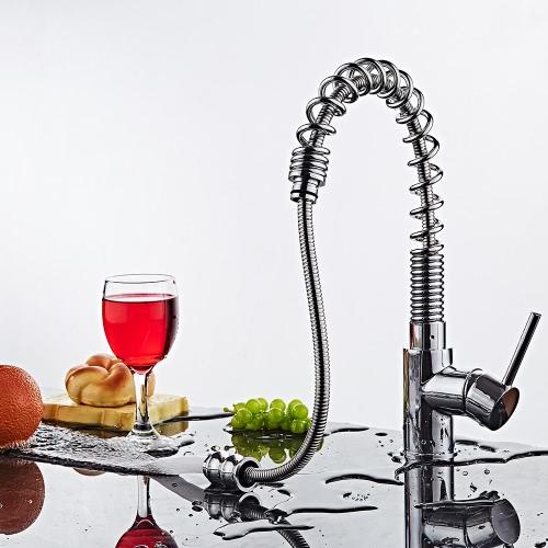 Buy Homgeek Modern Chromed Brass Single Handle Deck Mount Sink Kitchen Faucet Basin Mixer Tap Swivel Spring Spout Pull Tensile Bar Home Hotel