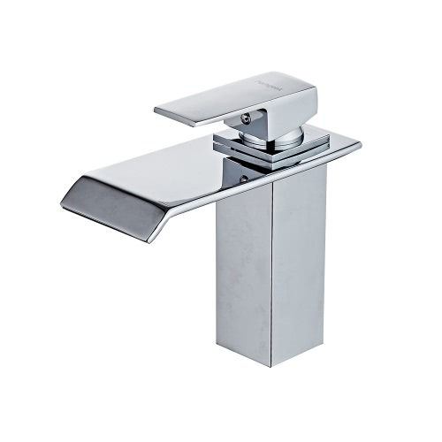 Buy Homgeek Modern Single Handle Waterfall Bathroom Vanity Sink Faucet Rectangular Spout Chrome Lavatory Mixer Taps Home Hotel