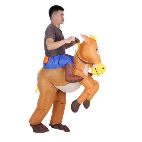 Buy Funny Cowboy Rider Horse Inflatable Costume Outfit Adult Fancy Dress Halloween Carnival Party Blow Suit Battery Operated Fan