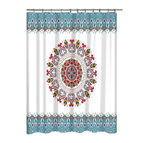 Mandala Flower Pattern Bathroom Curtain  Mildew-Resistant Shower Curtain  Polyester  Non-Smelling  with Hook от Tomtop.com INT