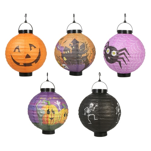 Buy 5pcs/set Foldable Halloween Paper Lantern LED Lights Hanging Pumpkin Lanterns Lamp Decorations--Random Pattern