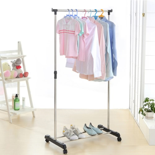 Buy iKayaa Metal Adjustable Coat Clothes Garment Hanging Rack Rolling Cloth Organizer Display Wheels Shoes Heavy-duty