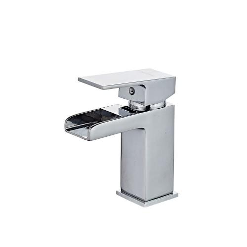 Buy Homgeek Modern Elegant Deck Mount Chromed Single Handle Solid Brass Bathroom Sink Waterfall Faucet Cold Hot Mixer Basin Tap Home Hotel