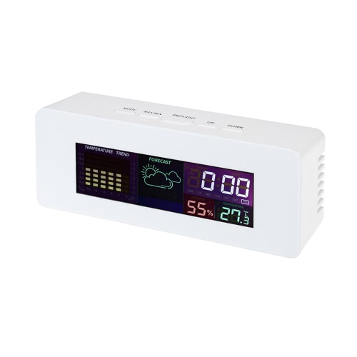 Buy Multi-functional Colorful LCD Indoor Thermometer Hygrometer Clock Alarm Snooze Function Calendar Week Display
