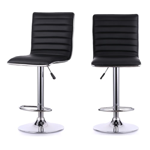 Buy iKayaa 2PCS/Set 2 PU Leather Pneumatic Swivel Bar Stools Chairs Height Adjustable Counter Pub Chair Barstools Heavy-duty