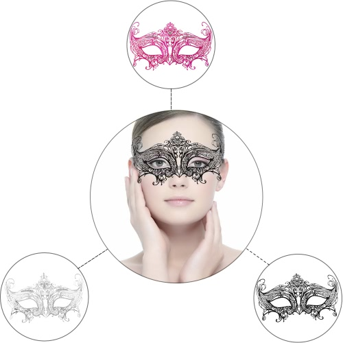 Buy Festnight Romantic Black Laser Cut Metal Half Mask Rhinestones Masquerade Ball Halloween Fancy Gift