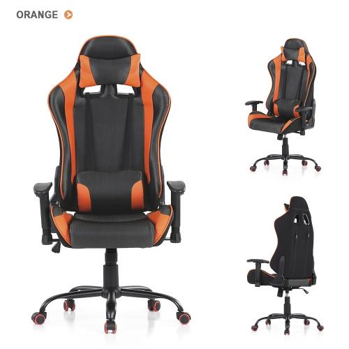 Buy iKayaa Ergonomic Racing Style Gaming Office Chair Swivel Executive Computer Bucket Seat W/ Recline Height & Armrest Adjustable Tilt Function + Head Rest Lumbar Support