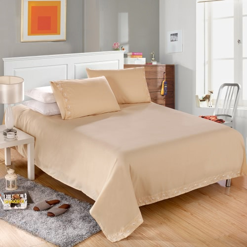Buy 1800 Series Lux Decor Collection Solid Embroider Cording Bedding Set Deep Pocket Fitted Sheet Bed Cover Pillow Cases Bedclothes Home Textiles