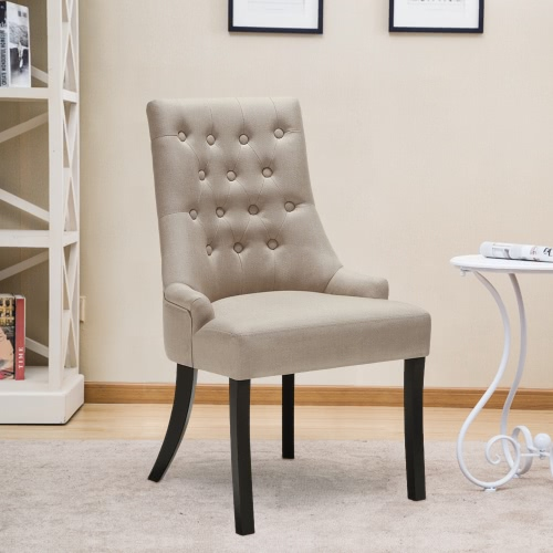 Buy iKayaa Classic Style Scoop Back Tufted Kitchen Dining Chair Linen Fabric Padded Accent Upholstered Side Living Room W/ Rubber Wood Legs