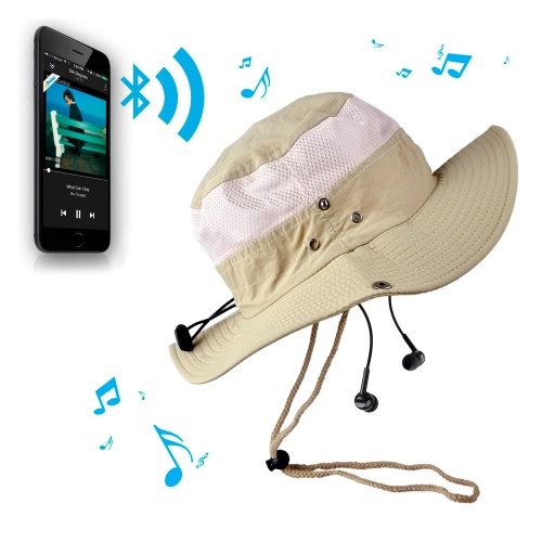 Buy Fashion Unisex Checkered Bluetooth Sun Hats Large Brimmed Hat Summer Music Wireless Hands-Free Smart Cap Headphone Headset Speaker Mic