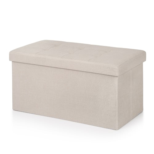 Buy iKayaa Modern Linen Fabric Folding Storage Ottoman Bench Large Rectangle Foot Rest Pouffe Box Stool Instant Coffee Table