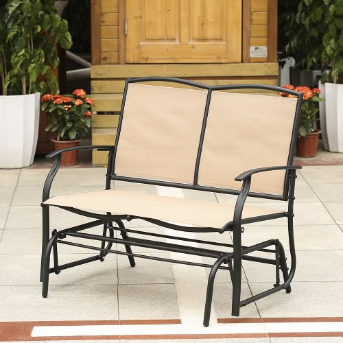Buy iKayaa 2 Person Patio Swing Glider Bench Chair Loveseat Textliene Garden Outdoor Rocking Seating Steel Frame