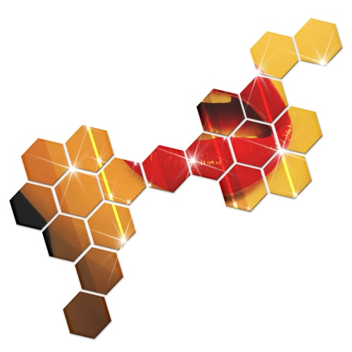 Buy 1Modern Design Adhesive Hexagonal 3D DIY Acrylic Wall Mirror Stickers Room Bedroom Kitchen Bathroom Stick Decal Home Party Decoration Decor Art Mural