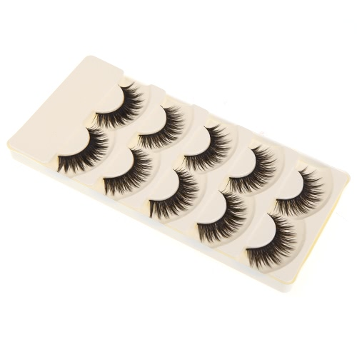 Buy 5 Pairs False Eyelashes Pure Hand-made Thick Long Voluminous Fake Lashes