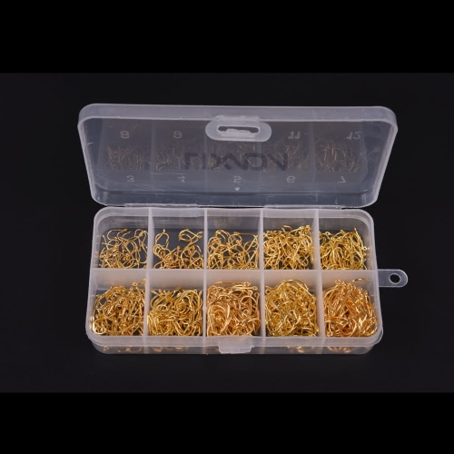 Buy 60Fish Jig Hooks Hole Fishing Tackle Box 3# -12# 10 Sizes Carbon Steel Gold Golden