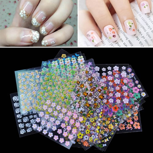 Buy 30 Sheet 3D Mix Color Floral Design Nail Art Stickers Decals Manicure Beautiful Fashion Accessories Decoration