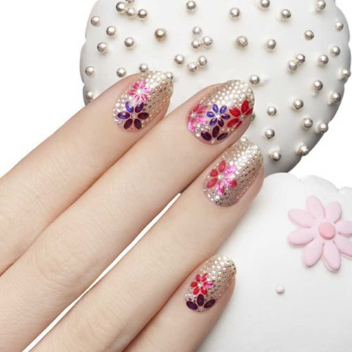 Buy 50 Sheet 3D Mix Color Floral Design Nail Art Stickers Decals Manicure Beautiful Fashion Accessories Decoration